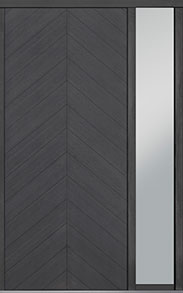 Custom Pivot Front  Door Example, Oak Wood Veneer-Gray-Oak DB-PVT-715 1SL18 48x108