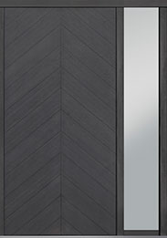 Custom Pivot Front  Door Example, Oak Wood Veneer-Gray-Oak DB-PVT-715 1SL18 48x96