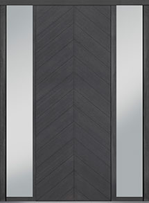 Custom Pivot Front  Door Example, Oak Wood Veneer-Gray-Oak DB-PVT-715 2SL18 42x108
