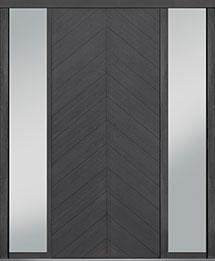 Custom Pivot Front  Door Example, Oak Wood Veneer-Gray-Oak DB-PVT-715 2SL18 42x96