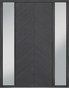 Custom Pivot Front  Door Example, Oak Wood Veneer-Gray-Oak DB-PVT-715 2SL18 48x108