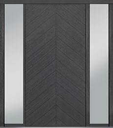 Custom Pivot Front  Door Example, Oak Wood Veneer-Gray-Oak DB-PVT-715 2SL18 48x96
