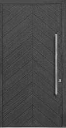 Custom Pivot Front  Door Example, Oak Wood Veneer-Gray-Oak DB-PVT-715 48x96