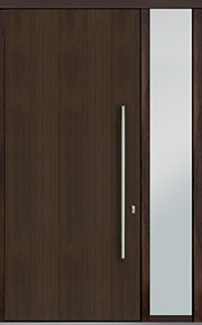 Custom Pivot Front  Door Example, Mahogany Wood Veneer-Walnut DB-PVT-A1 1SL18 48x108