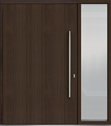 Custom Pivot Front  Door Example, Mahogany Wood Veneer-Walnut DB-PVT-A1 1SL24 60x96