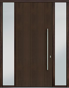 Custom Pivot Front  Door Example, Mahogany Wood Veneer-Walnut DB-PVT-A1 2SL18 48x108
