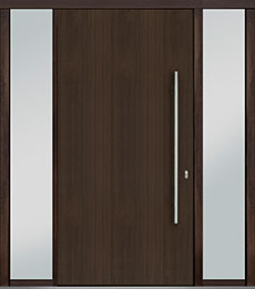 Custom Pivot Front  Door Example, Mahogany Wood Veneer-Walnut DB-PVT-A1 2SL18 48x96