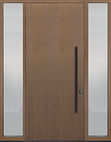 Custom Pivot Front  Door Example, Oak Wood Veneer-Light-Loft DB-PVT-A1 2SL18 48x108