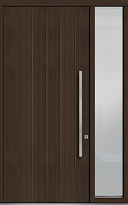 Custom Pivot Front  Door Example, Mahogany Wood Veneer-Walnut DB-PVT-A2 1SL18 48x108