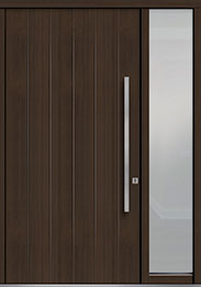 Custom Pivot Front  Door Example, Mahogany Wood Veneer-Walnut DB-PVT-A2 1SL18 48x96