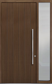Custom Pivot Front  Door Example, Oak Wood Veneer-Earth DB-PVT-A2 1SL18 48x108