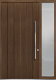 Custom Pivot Front  Door Example, Oak-Wood-Veneer-Earth DB-PVT-A2 1SL18 48x96