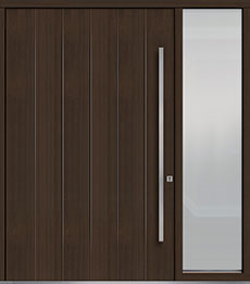 Custom Pivot Front  Door Example, Mahogany Wood Veneer-Walnut DB-PVT-A2 1SL24 60x96