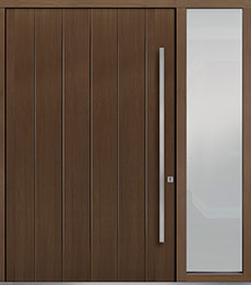 Custom Pivot Front  Door Example, Oak Wood Veneer-Earth DB-PVT-A2 1SL24 60x96