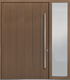 Custom Pivot Front  Door Example, Oak Wood Veneer-Light-Loft DB-PVT-A2 1SL24 60x96