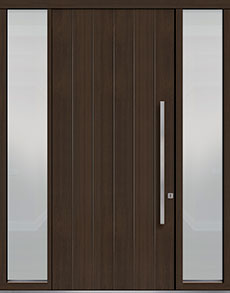 Custom Pivot Front  Door Example, Mahogany Wood Veneer-Walnut DB-PVT-A2 2SL18 48x108