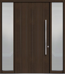 Custom Pivot Front  Door Example, Mahogany Wood Veneer-Walnut DB-PVT-A2 2SL18 48x96