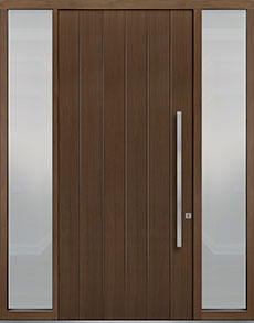 Custom Pivot Front  Door Example, Oak-Wood-Veneer-Earth DB-PVT-A2 2SL18 48x108