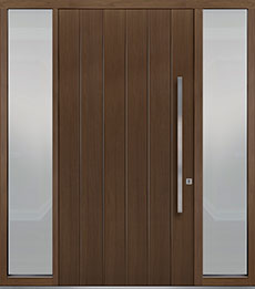 Custom Pivot Front  Door Example, Oak Wood Veneer-Earth DB-PVT-A2 2SL18 48x96