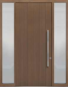 Custom Pivot Front  Door Example, Oak Wood Veneer-Light-Loft DB-PVT-A2 2SL18 48x108