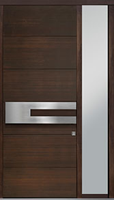 Custom Pivot Front  Door Example, Mahogany Wood Veneer-Walnut DB-PVT-A4 1SL18 42x108