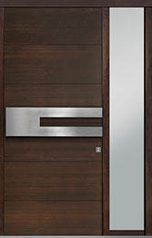 Custom Pivot Front  Door Example, Mahogany Wood Veneer-Walnut DB-PVT-A4 1SL18 42x96