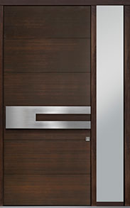 Custom Pivot Front  Door Example, Mahogany Wood Veneer-Walnut DB-PVT-A4 1SL18 48x108