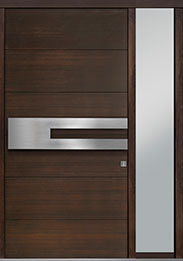 Custom Pivot Front  Door Example, Mahogany Wood Veneer-Walnut DB-PVT-A4 1SL18 48x96