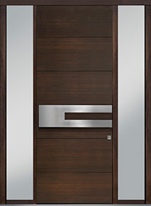 Custom Pivot Front  Door Example, Mahogany Wood Veneer-Walnut DB-PVT-A4 2SL18 42x108