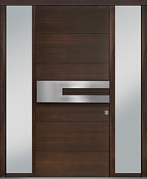 Custom Pivot Front  Door Example, Mahogany Wood Veneer-Walnut DB-PVT-A4 2SL18 42x96