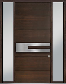 Custom Pivot Front  Door Example, Mahogany Wood Veneer-Walnut DB-PVT-A4 2SL18 48x108