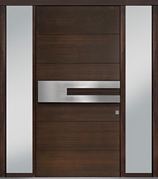 Custom Pivot Front  Door Example, Mahogany Wood Veneer-Walnut DB-PVT-A4 2SL18 48x96