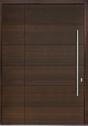 Custom Pivot Front  Door Example, Mahogany-Wood-Veneer-Walnut DB-PVT-A4 SLS20 48x96
