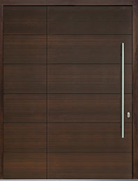 Custom Pivot Front  Door Example, Mahogany Wood Veneer-Walnut DB-PVT-A4 SLS26 48x96