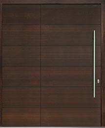 Custom Pivot Front  Door Example, Mahogany Wood Veneer-Walnut DB-PVT-A4 SLS32 48x96