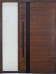 Custom Pivot Front  Door Example, Mahogany-Walnut DB-PVT-A4W 1SL CST
