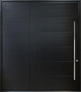 Custom Pivot Front  Door Example, Mahogany-Semi-Gloss Black Paint DB-PVT-A4W SLS36 60x108 CST