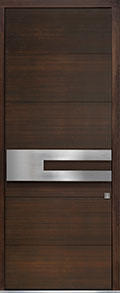 Custom Pivot Front  Door Example, Mahogany Wood Veneer-Walnut DB-PVT-A4 42x108
