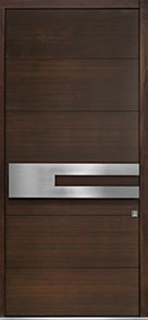 Custom Pivot Front  Door Example, Mahogany Wood Veneer-Walnut DB-PVT-A4 48x108