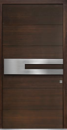 Custom Pivot Front  Door Example, Mahogany-Wood-Veneer-Walnut DB-PVT-A4 48x96