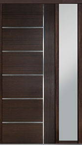 Custom Pivot Front  Door Example, Mahogany Wood Veneer-Walnut DB-PVT-B1 1SL18 42x108