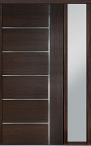 Custom Pivot Front  Door Example, Mahogany Wood Veneer-Walnut DB-PVT-B1 1SL18 48x108