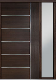 Custom Pivot Front  Door Example, Mahogany Wood Veneer-Walnut DB-PVT-B1 1SL18 48x96