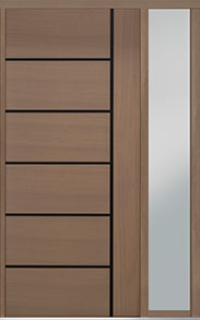 Custom Pivot Front  Door Example, Oak Wood Veneer-Light-Loft DB-PVT-B1 1SL18 48x108