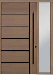 Custom Pivot Front  Door Example, Oak Wood Veneer-Light-Loft DB-PVT-B1 1SL18 48x96