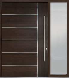 Custom Pivot Front  Door Example, Mahogany Wood Veneer-Walnut DB-PVT-B1 1SL24 60x96