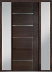 Custom Pivot Front  Door Example, Mahogany Wood Veneer-Walnut DB-PVT-B1 2SL18 42x108