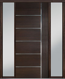 Custom Pivot Front  Door Example, Mahogany Wood Veneer-Walnut DB-PVT-B1 2SL18 42x96
