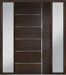 Custom Pivot Front  Door Example, Mahogany Wood Veneer-Walnut DB-PVT-B1 2SL18 48x96