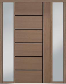Custom Pivot Front  Door Example, Oak Wood Veneer-Light-Loft DB-PVT-B1 2SL18 48x108